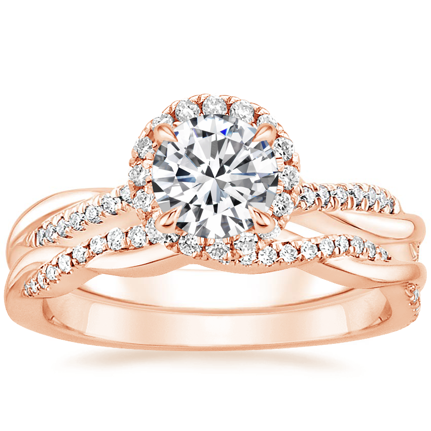14K Rose Gold Monroe Diamond Ring with Petite Twisted Vine Diamond Ring (1/8 ct. tw.)