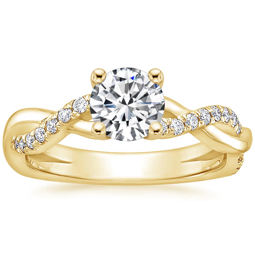 Round 18K Yellow Gold Braided Vine Diamond Ring (1/4 ct. tw.)
