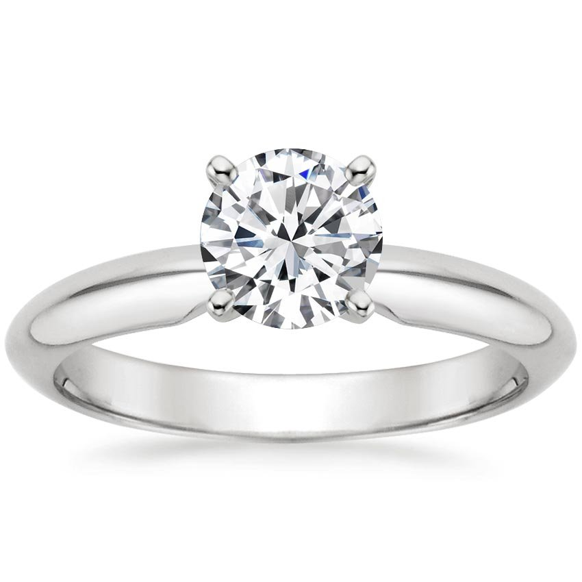 18K White Gold Four-Prong Classic Ring, top view