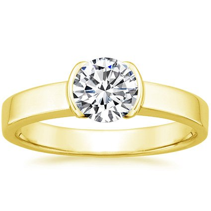 18K Yellow Gold Semi-Bezel Ring, top view