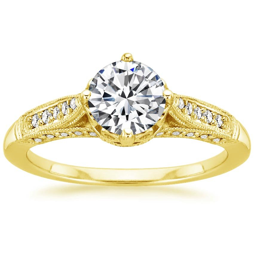 18K Yellow Gold Heirloom Diamond Ring (1/4 ct. tw.), top view