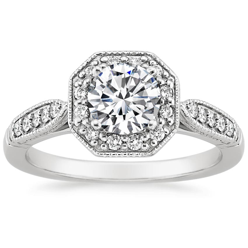 Round 18K White Gold Victorian Halo Diamond Ring