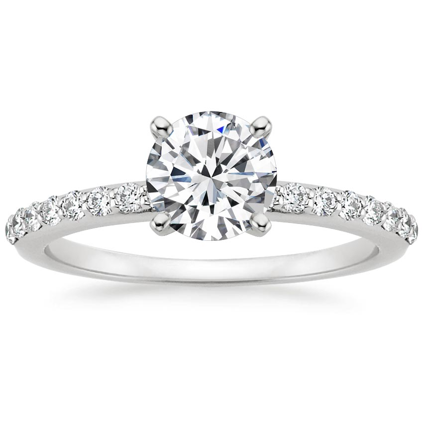Platinum Petite Shared Prong Diamond Ring (1/4 ct. tw.), top view