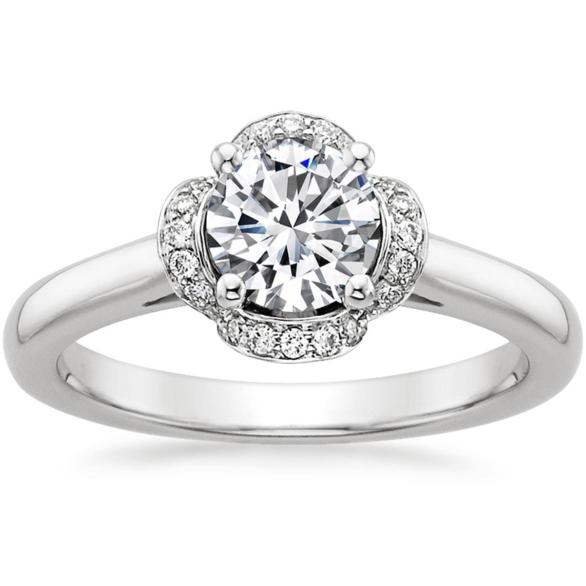 18K White Gold Fleur Diamond Ring (1/4 ct. tw.), top view