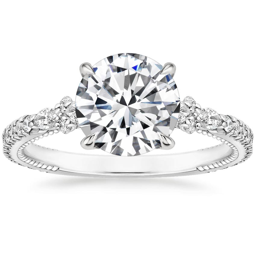 Round 18K White Gold Primrose Diamond Ring