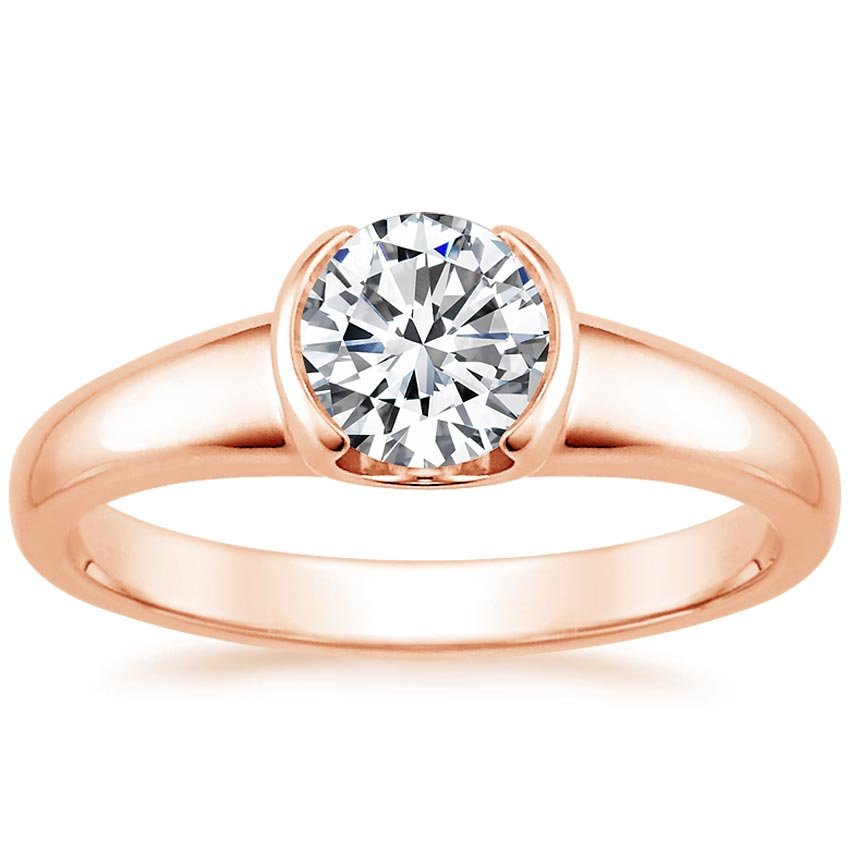 14K Rose Gold Petite Semi-Bezel Ring, top view