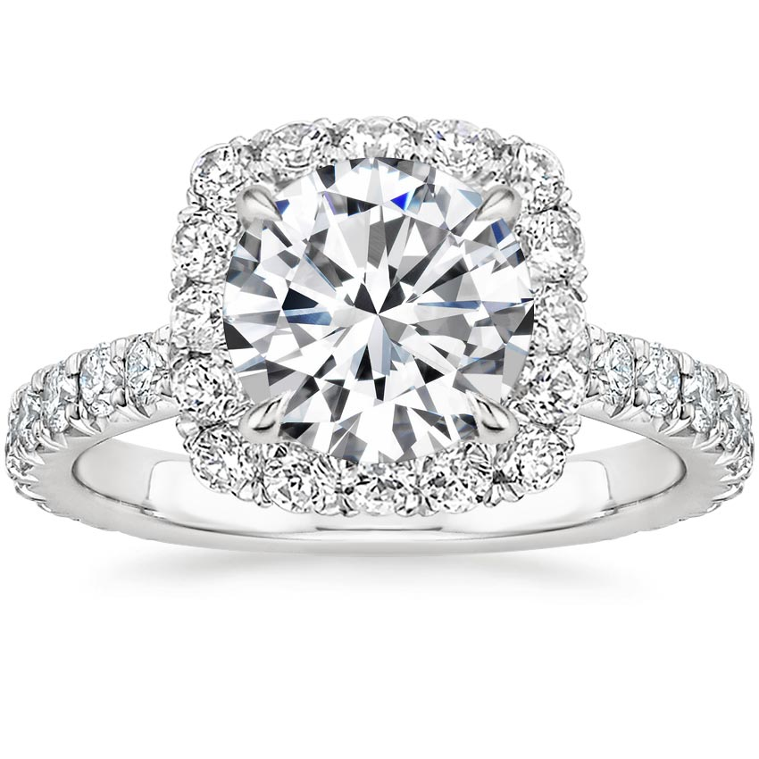Round French Halo Engagement Ring