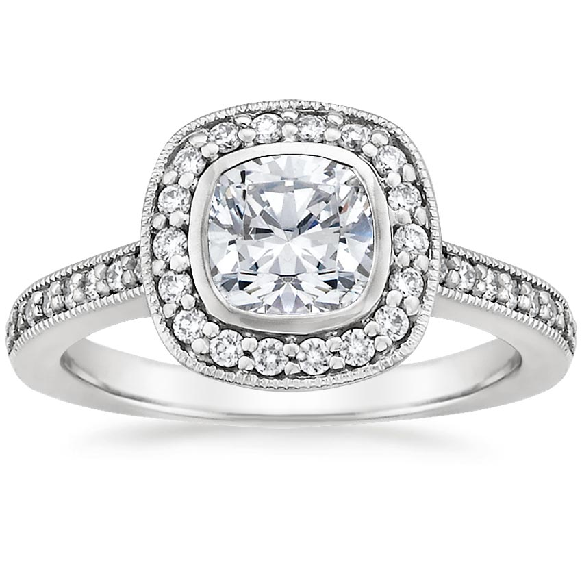 Platinum Fancy Bezel Halo Diamond Ring with Side Stones (1/4 ct. tw.), top view