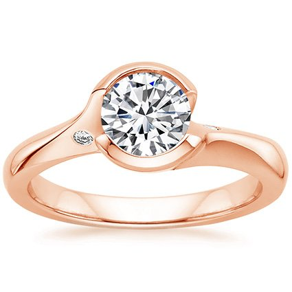 14K Rose Gold Cascade Ring with Diamond Accents, top view