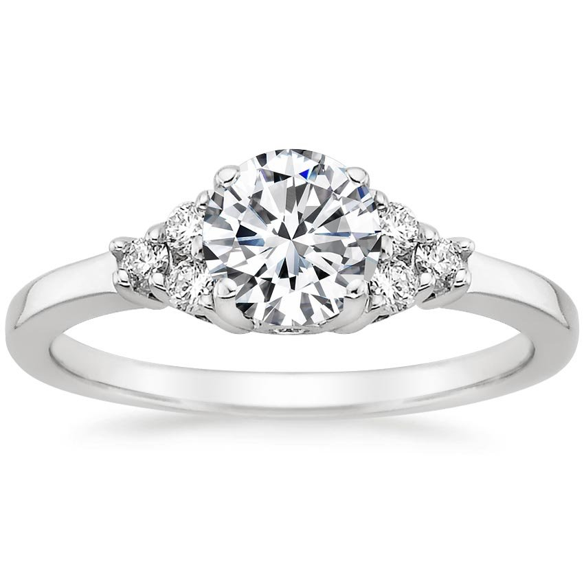 18K White Gold Trio Diamond Ring, top view