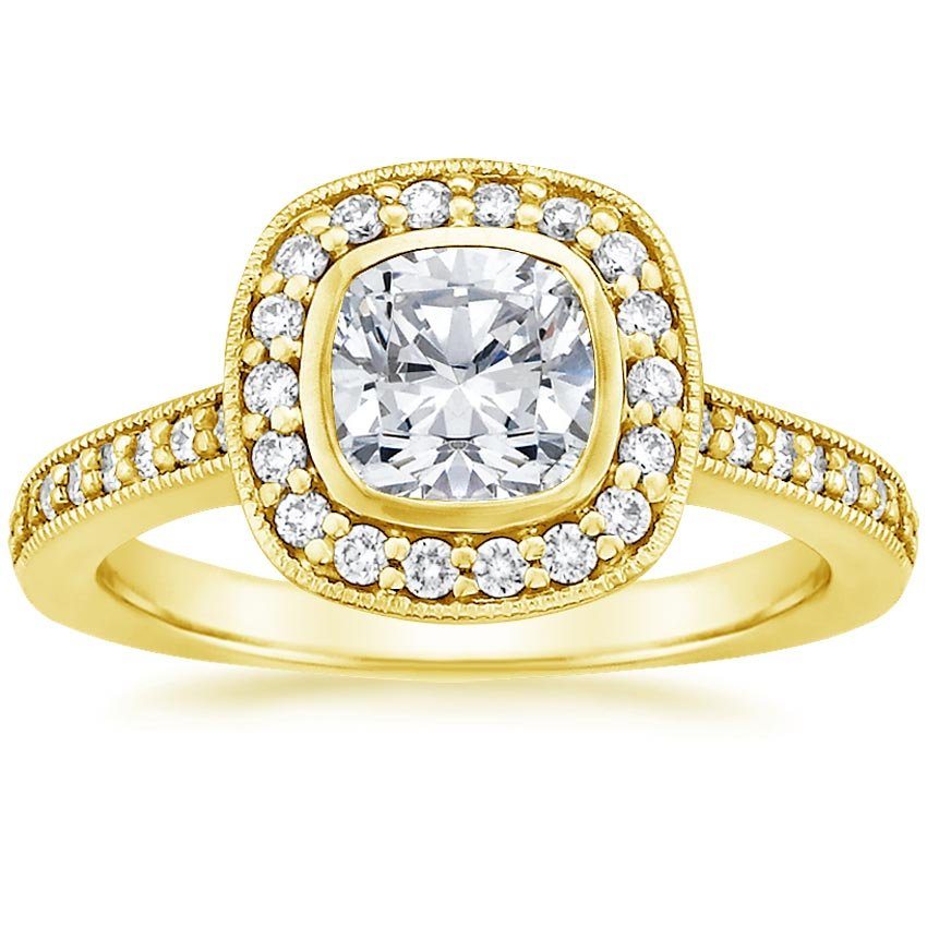 18K Yellow Gold Fancy Bezel Halo Diamond Ring with Side Stones (1/4 ct. tw.), top view