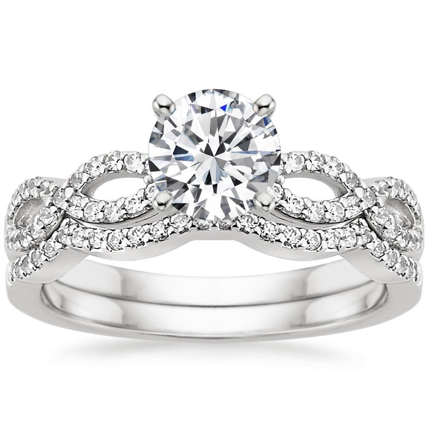 18K White Gold Infinity Diamond Ring Matched Set (1/3 ct. tw.), top view