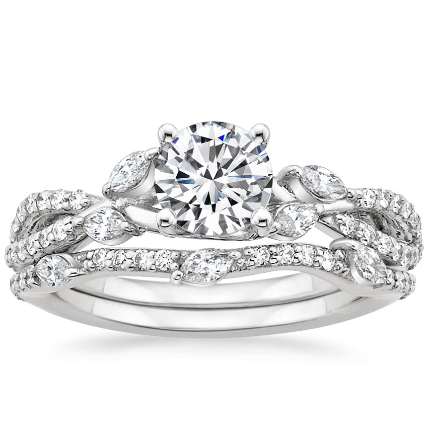 18K White Gold Luxe Willow Matched Set (1/2 ct. tw.), top view