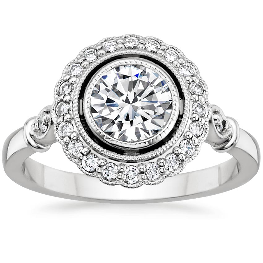 18K White Gold Bella Diamond Ring, top view