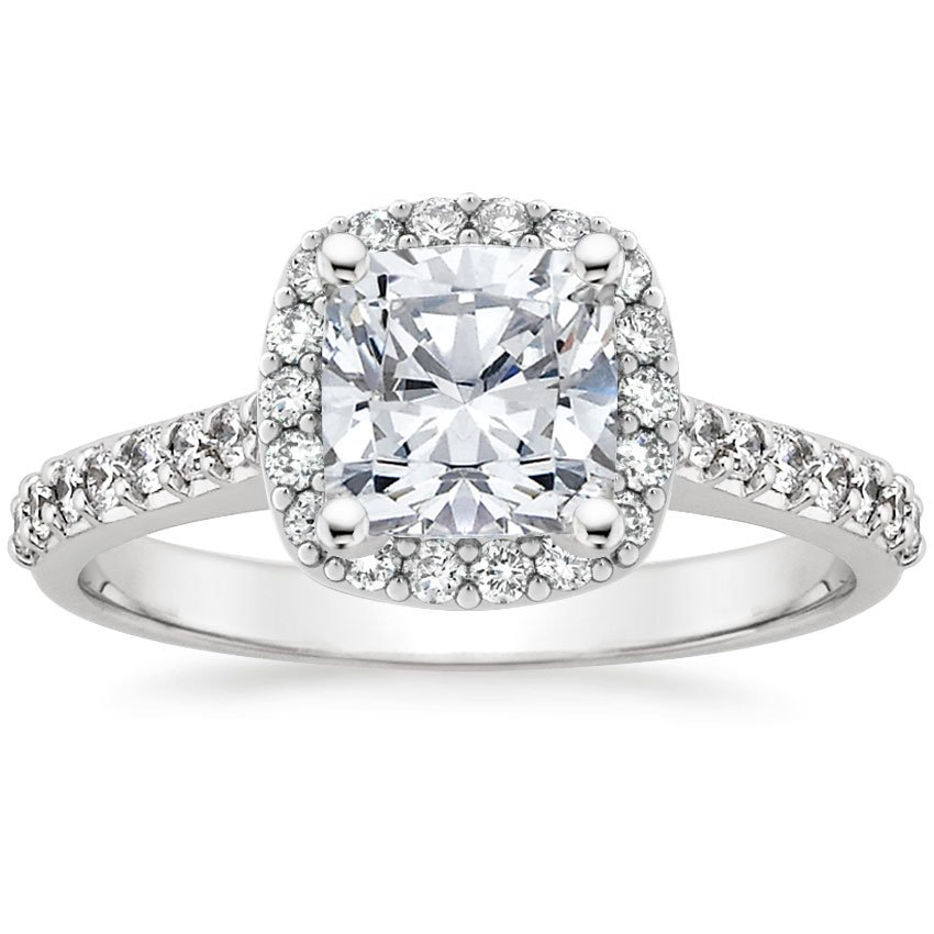 Top Twenty Engagement Rings - FANCY HALO DIAMOND RING WITH SIDE STONES