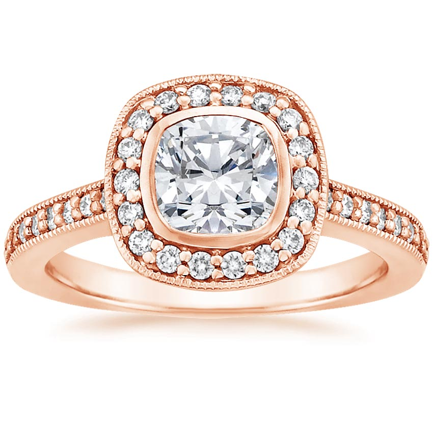 14K Rose Gold Fancy Bezel Halo Diamond Ring with Side Stones (1/3 ct. tw.), top view