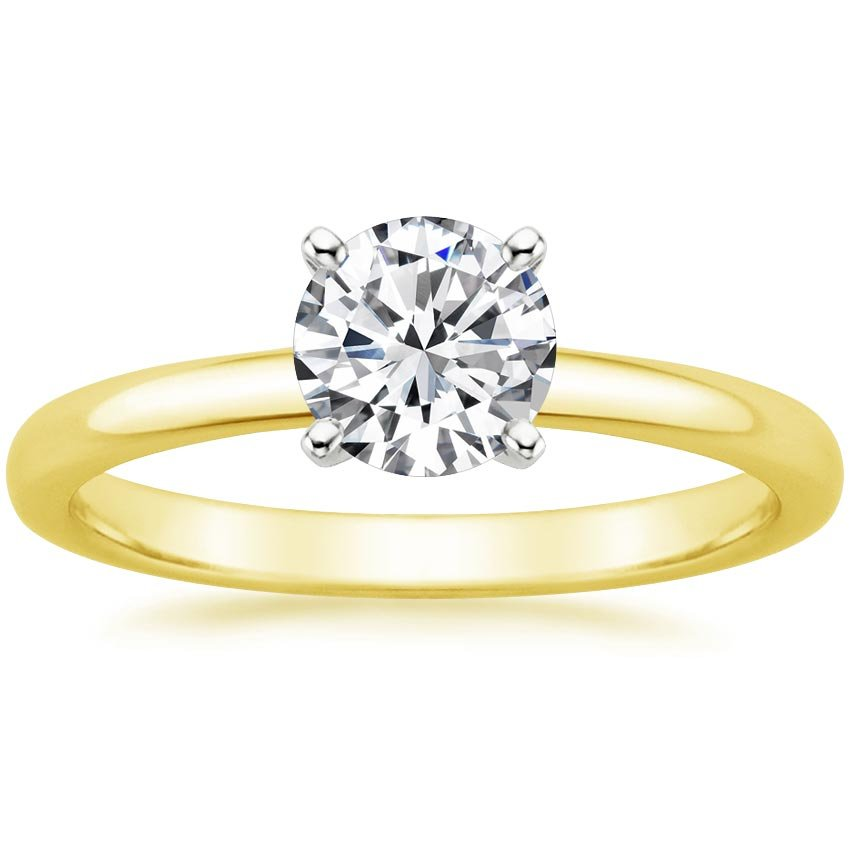 18K Yellow Gold 2mm Comfort Fit Ring, top view