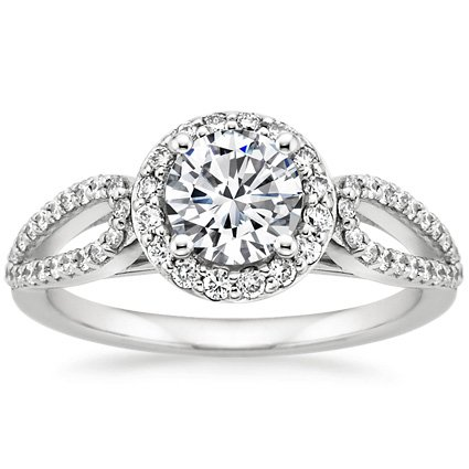 Platinum Lumiere Halo Diamond Ring (1/3 ct. tw.), top view