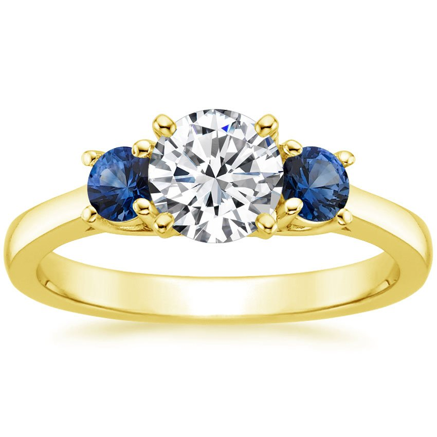 18K Yellow Gold Three Stone Diamond and Sapphire Trellis Ring, top view