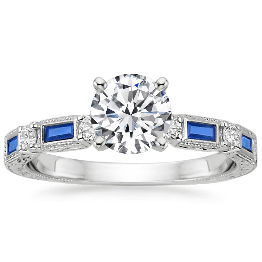 Platinum Vintage Sapphire and Diamond Ring, top view