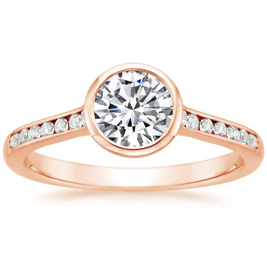 14K Rose Gold Luxe Luna Diamond Ring, top view