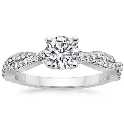 18K White Gold Twisted Vine Diamond Ring (1/4 ct. tw.), top view