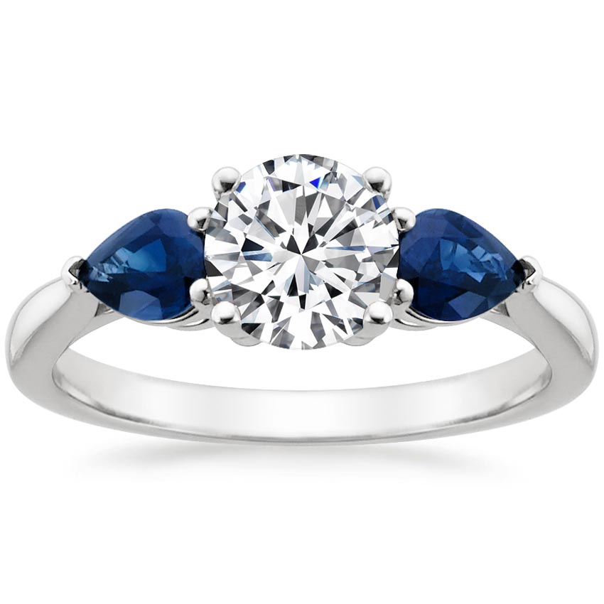 Platinum Forget Me Not Ring, top view