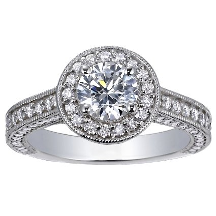 18K White Gold Luxe Pavé Diamond Halo Ring (over 3/4 ct. tw.), top view