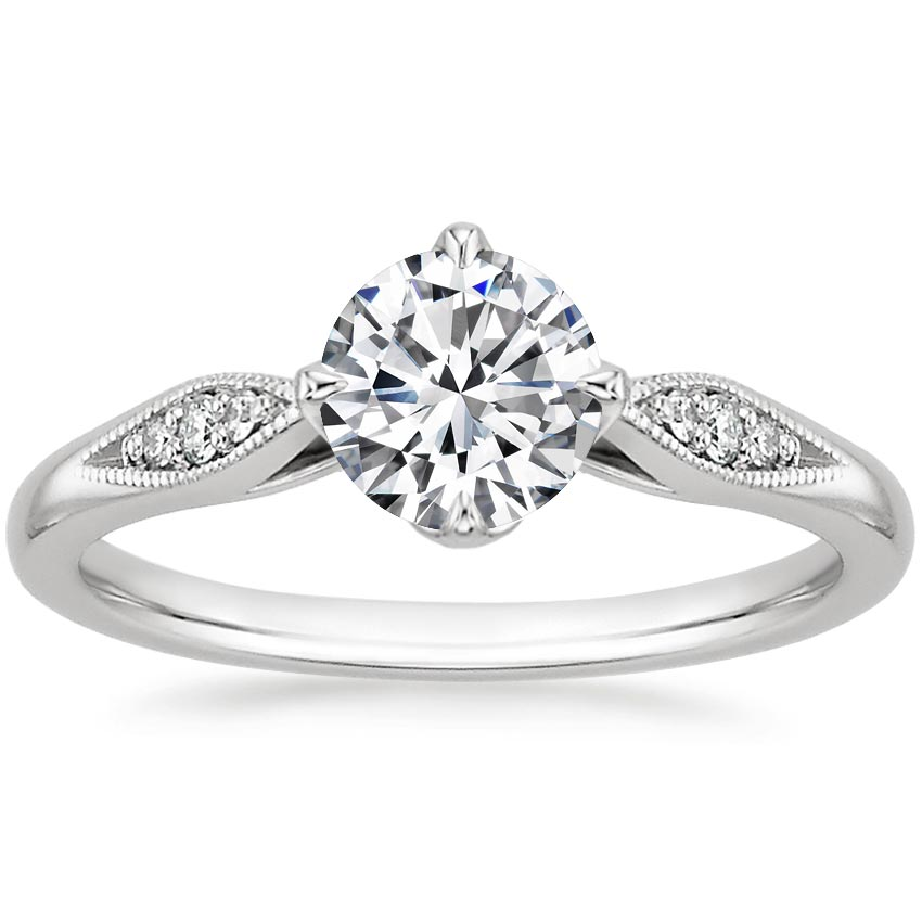 18K White Gold Jolie Diamond Ring, top view