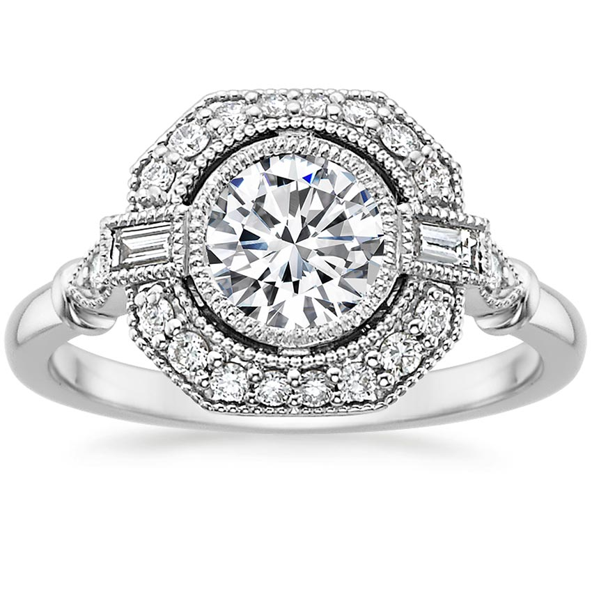 Round Baguette Engagement Ring