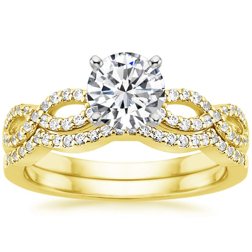 18K Yellow Gold Infinity Diamond Ring Matched Set (1/3 ct. tw.), top view