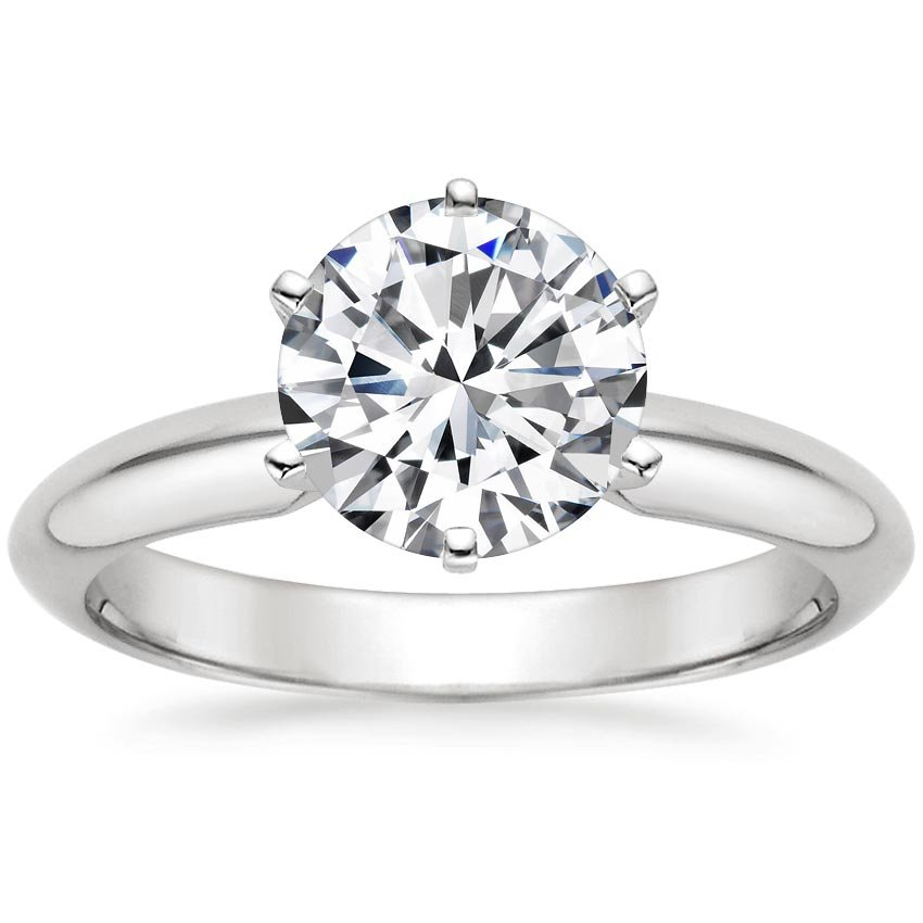 18K White Gold Six-Prong Classic Ring, top view