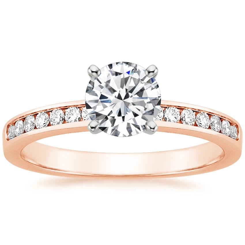 14K Rose Gold Petite Channel Set Round Diamond Ring, top view