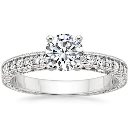 Round 18K White Gold Engraved Pavé Milgrain Diamond Ring (1/4 ct. tw.)
