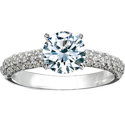 Round Platinum Pavé Diamond Multi Row Ring (1/2 ct.tw.)