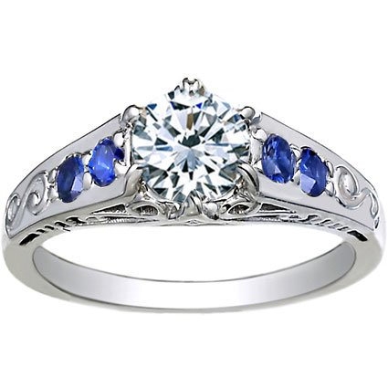 18K White Gold Art Deco Filigree Ring with Blue Sapphire Accents, top view