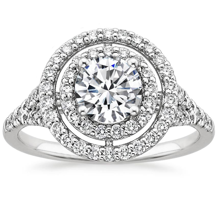 Round Platinum Double Halo Diamond Ring (1/2 ct. tw.)