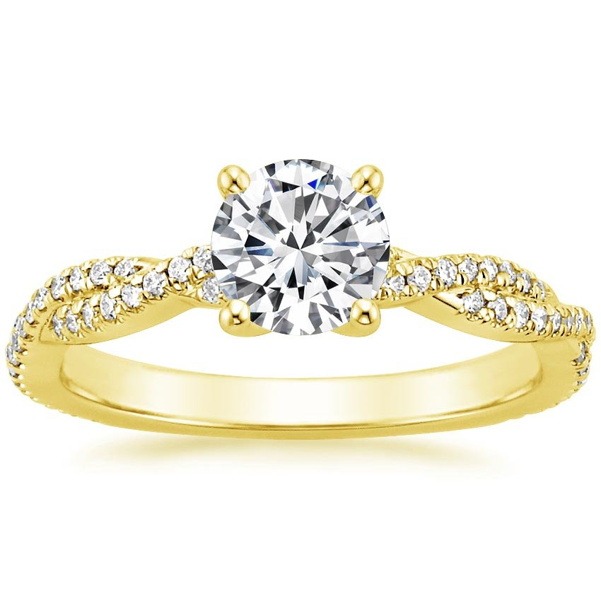 18K Yellow Gold Petite Luxe Twisted Vine Diamond Ring (1/4 ct. tw.), top view