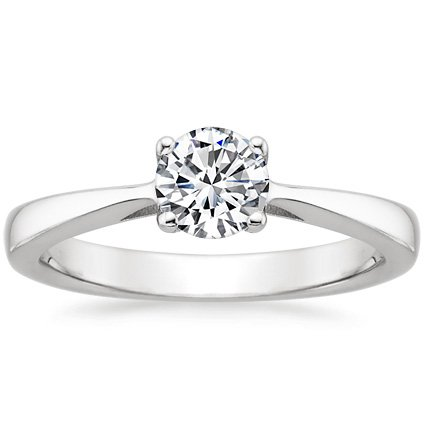 Round Platinum Petite Tapered Trellis Plus Ring
