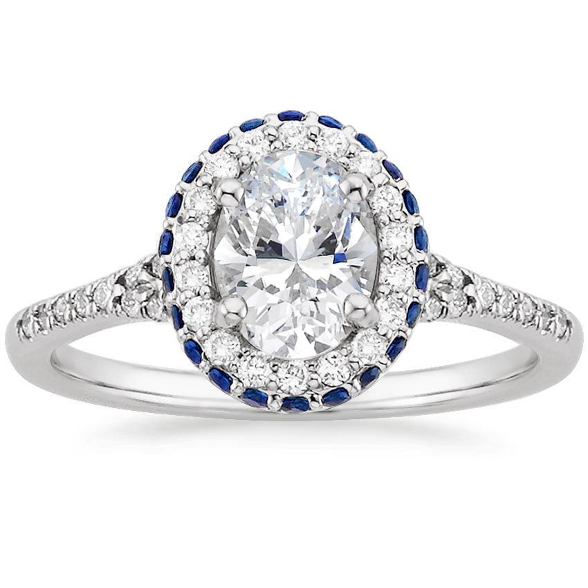 18K White Gold Circa Diamond Ring with Sapphire Accents, top view