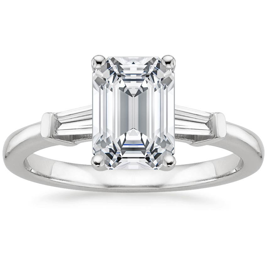 18K White Gold Tapered Baguette Diamond Ring, top view