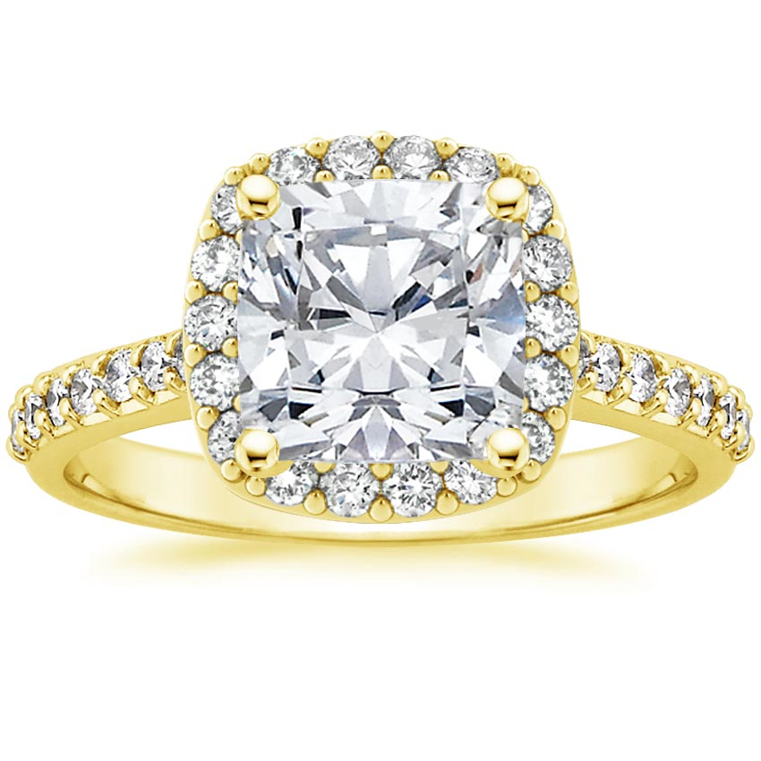 18K Yellow Gold Fancy Halo Diamond Ring with Side Stones, top view