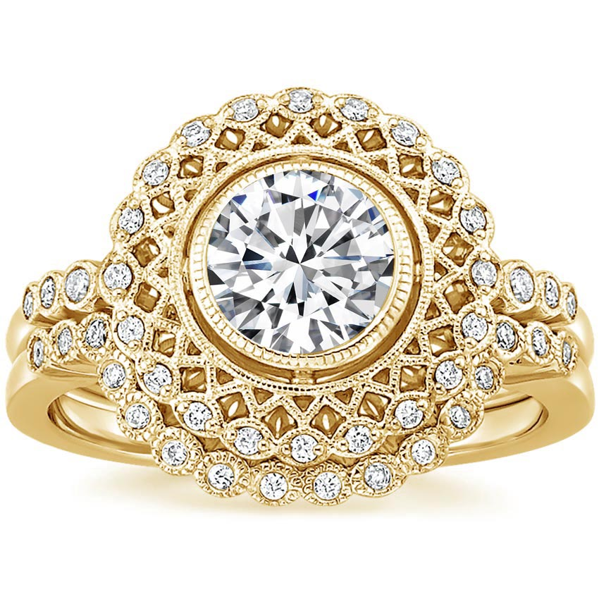 18K Yellow Gold Alvadora Diamond Bridal Set