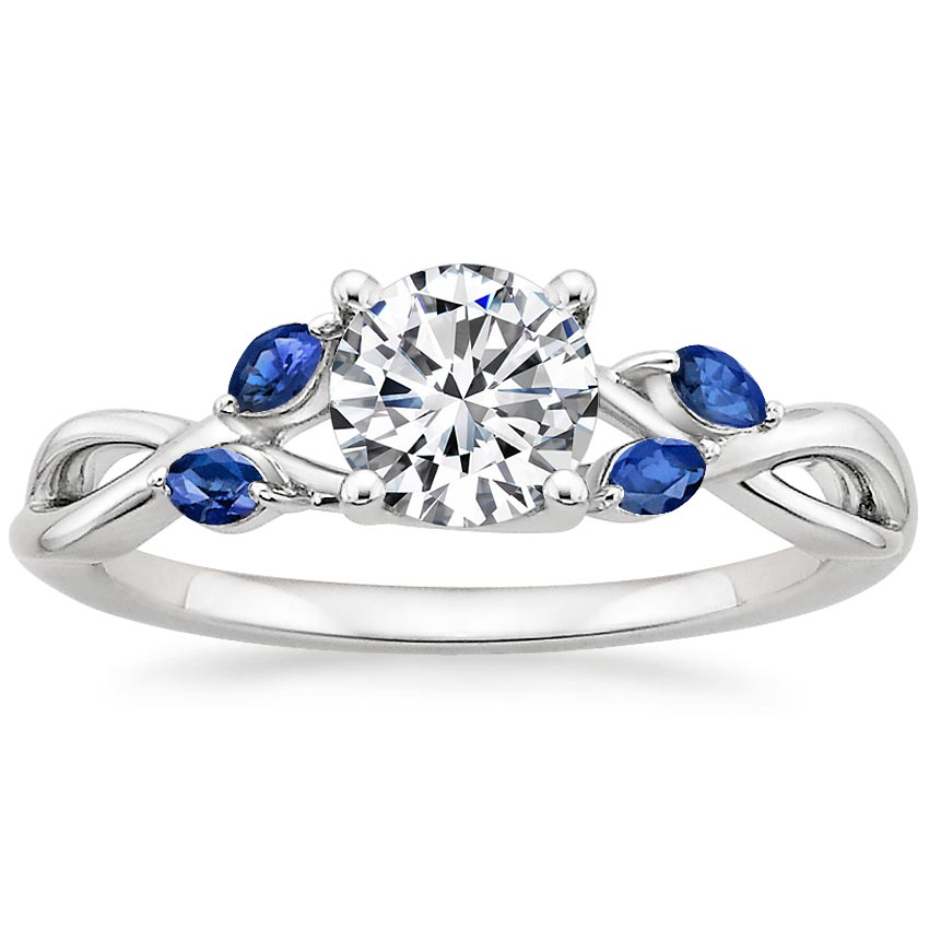 18K White Gold Willow Ring With Sapphire Accents, top view