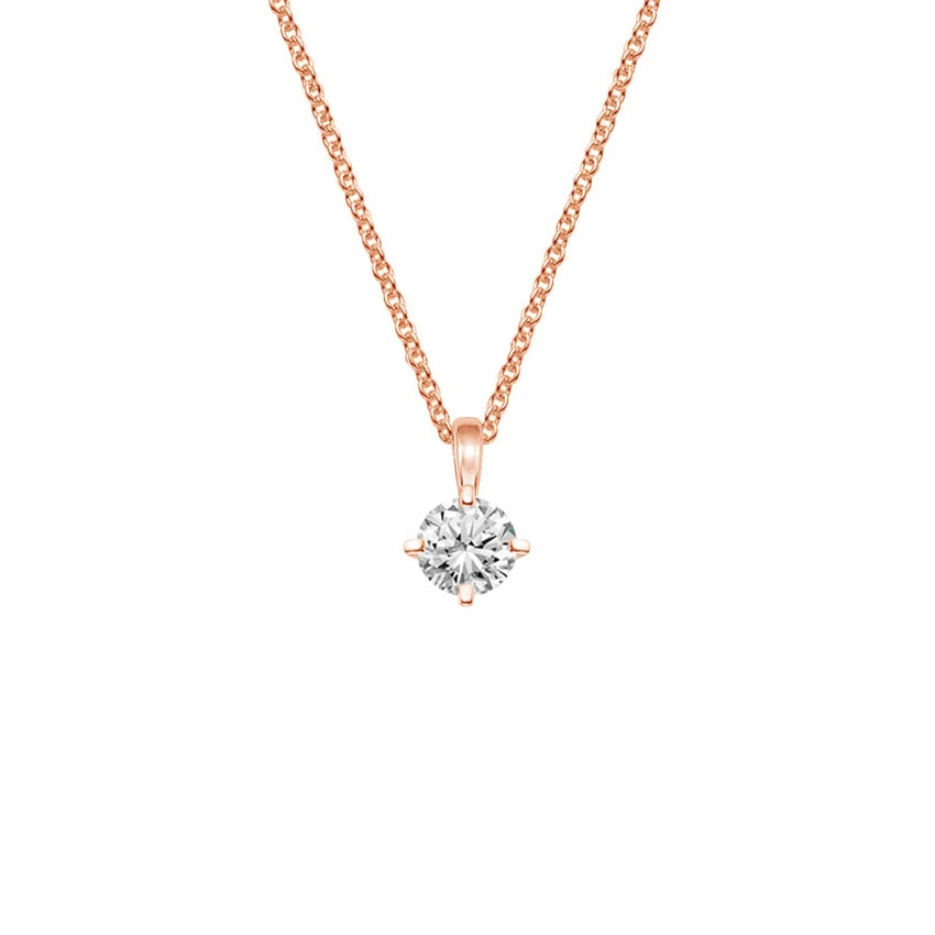 14K Rose Gold Compass Point Single Bail Four Prong Pendant, top view