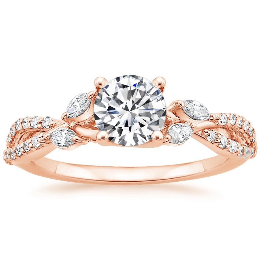 14K Rose Gold Luxe Willow Diamond Ring (1/3 ct. tw.), top view