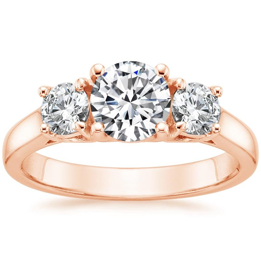 14K Rose Gold Three Stone Diamond Trellis Ring, top view