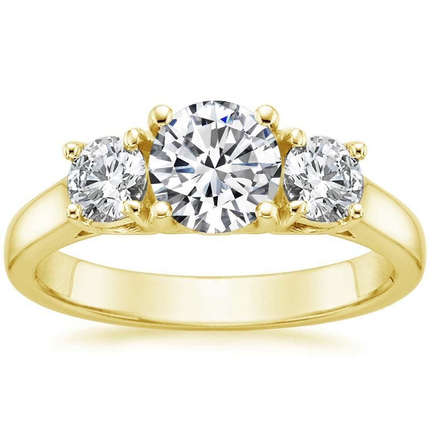 18K Yellow Gold Three Stone Diamond Trellis Ring (1/2 ct. tw.), top view