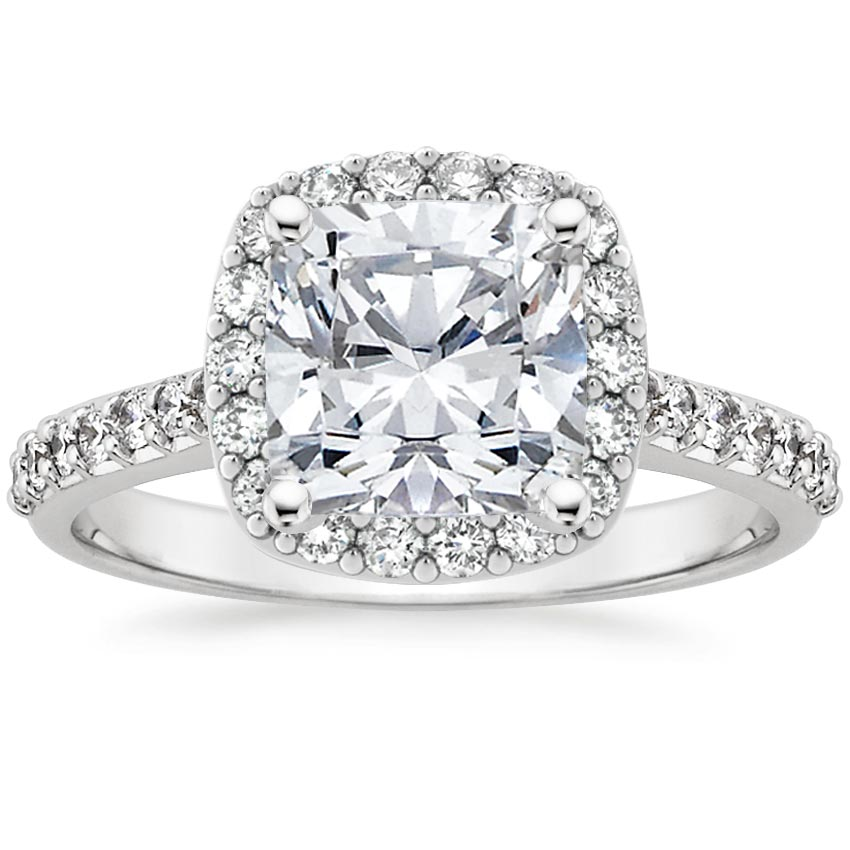 Platinum Fancy Halo Diamond Ring with Side Stones, top view
