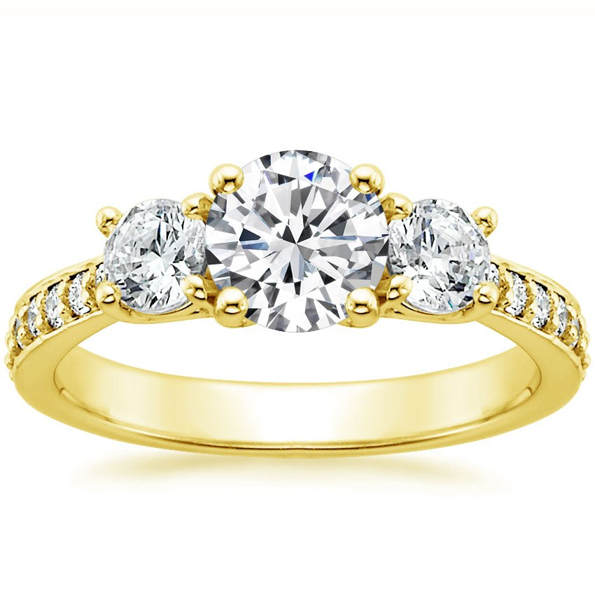 18K Yellow Gold Three Stone Round Diamond Pavé Trellis Ring, top view